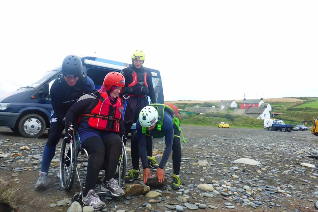 Accessing a coasteering route at Abereiddy, Courtesy of Celtic Quest Coasteering
